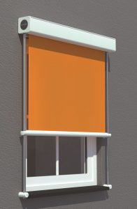 External blind on outside window in orange fabric.