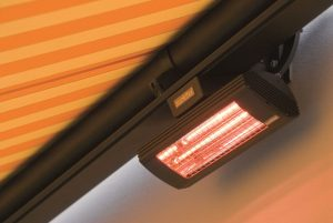 Infra-red heater under awning.