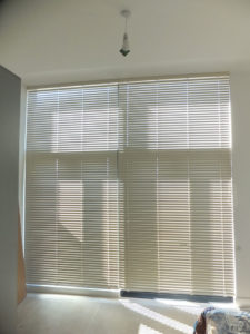 Metal Venetian Blinds closed in large bedroom window at Bath Riverside.