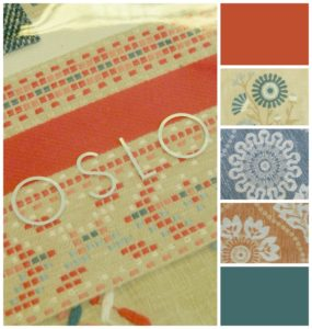 Oslo fabric collage including pictures of Oslo sample book and available patterns.