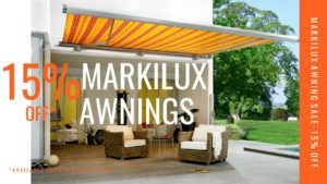 Striped orange markilux awning over patio and garden