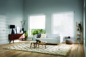 PowerView Silhouette Blinds in contemporary living room.
