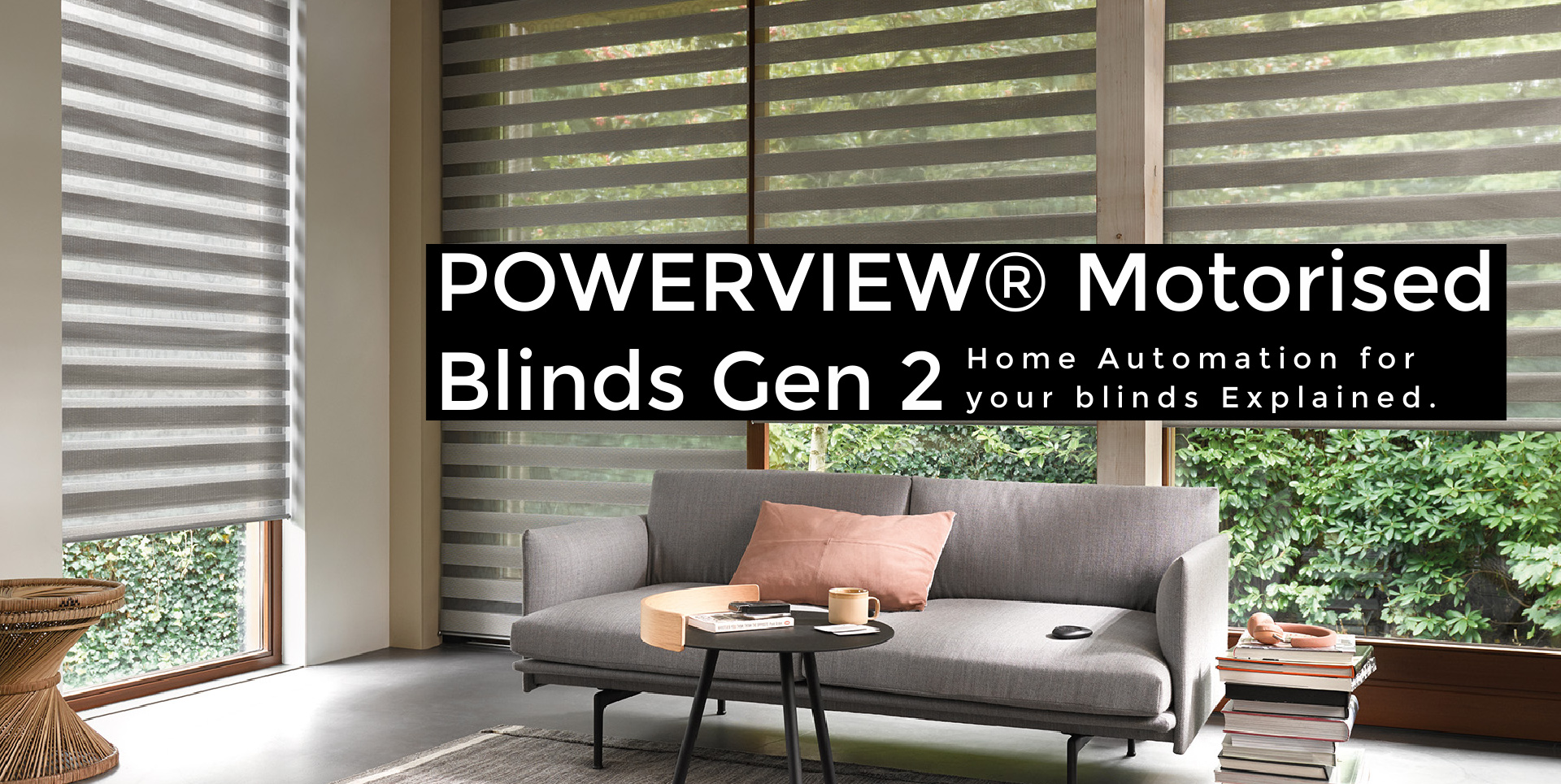 Twist PowerView electric blinds in arge living room windows.