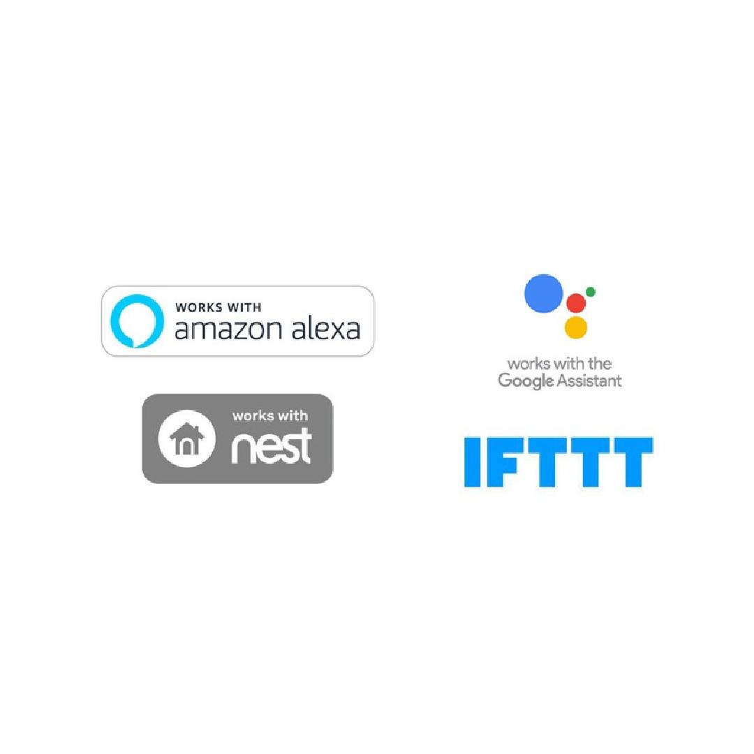 Amazon Alexa logo, Google Assistant logo and other home automation logos