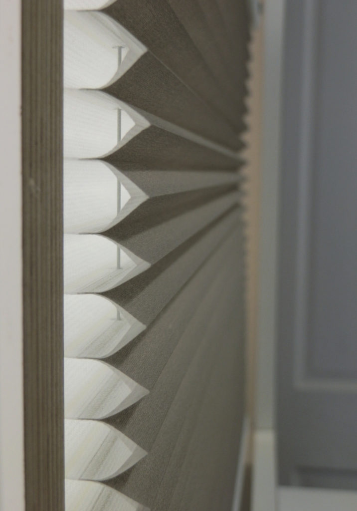 Duette blinds side profile showing honeycomb structure.