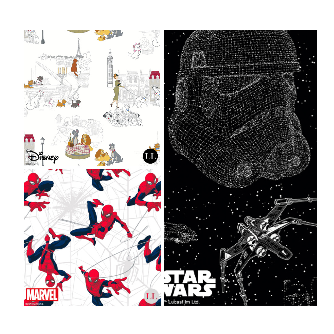 Disney characters, Star Wars and Spiderman fabric designs.