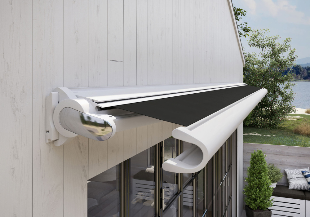 990 awning cassette retracted on exterior wall.