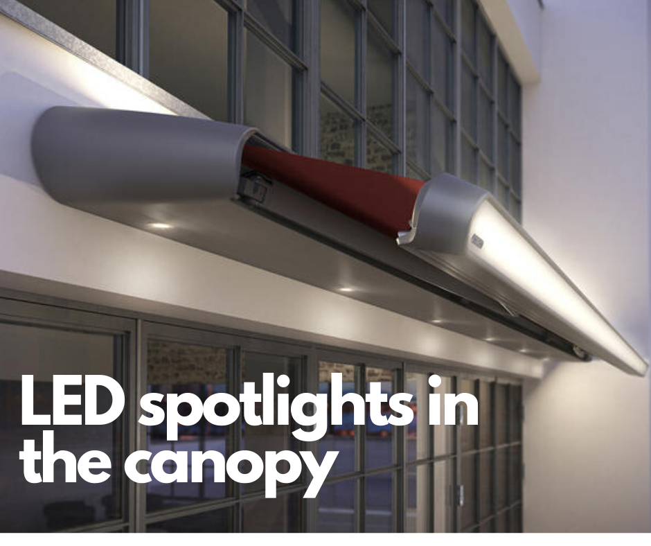 LED spotlights in the awning canopy