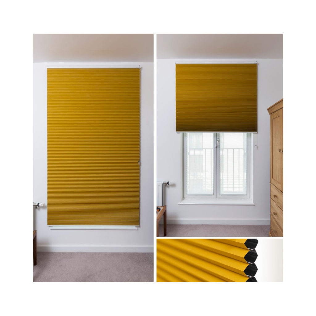 Duette blind with blackout lined fabric in bedroom window
