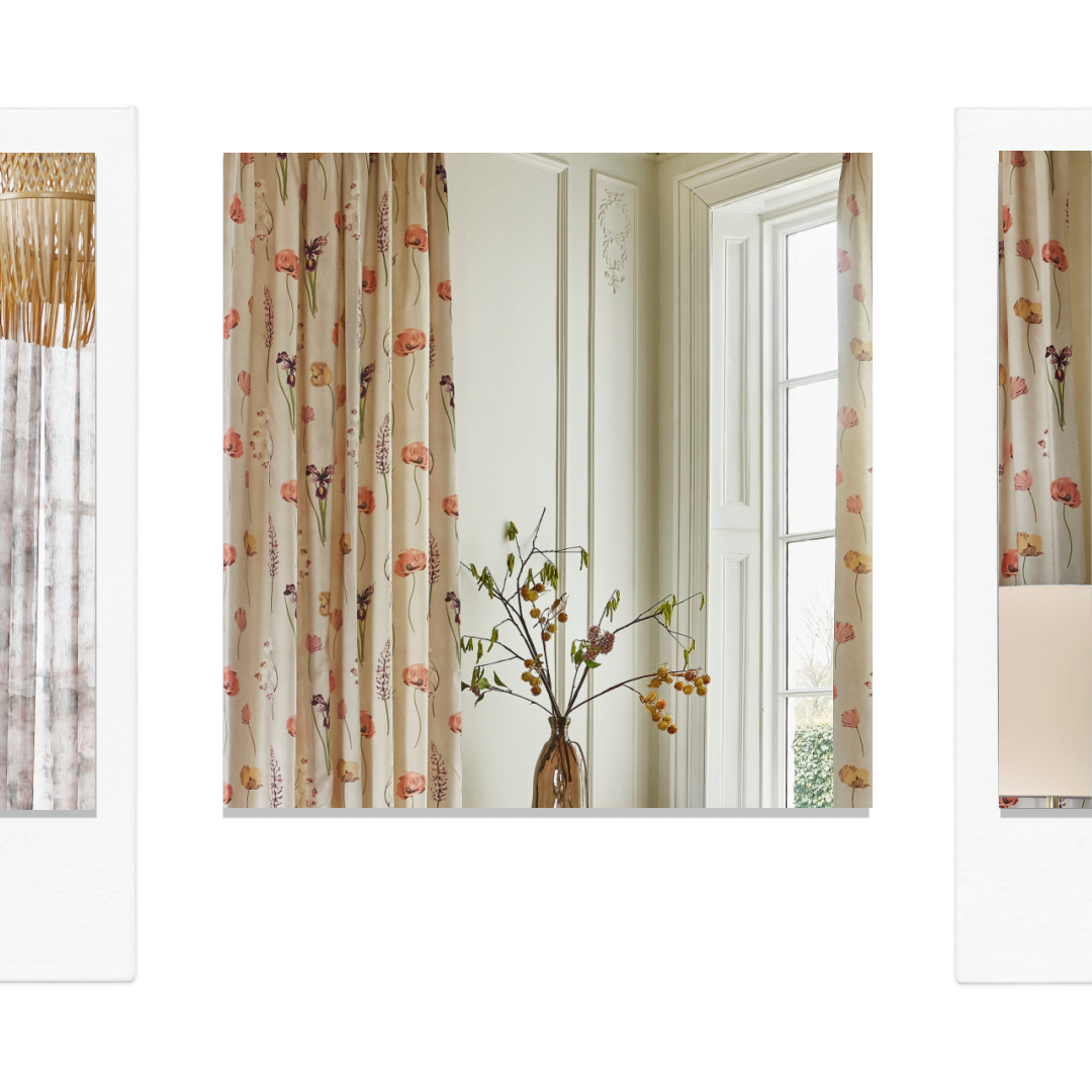 Floral poppy print curtains in rustic interior design.