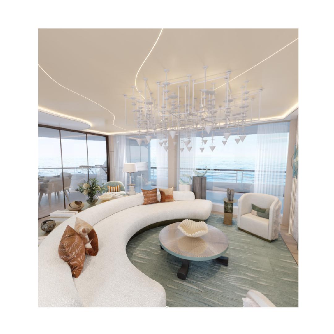 Interior design in yacht space 360 tour Decorex 2020