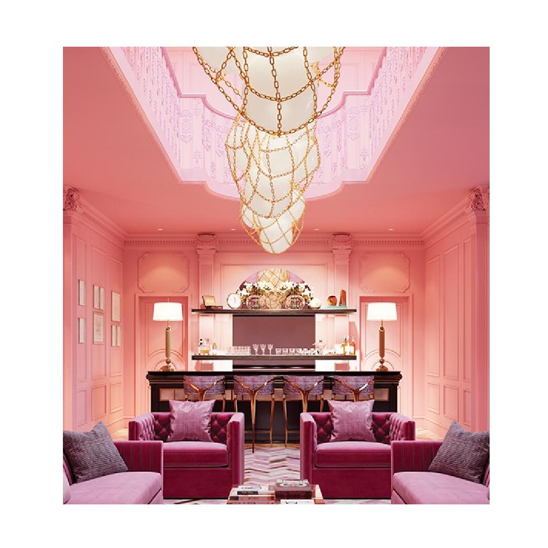 Decorex virtual lobby display - pink hotel lobby