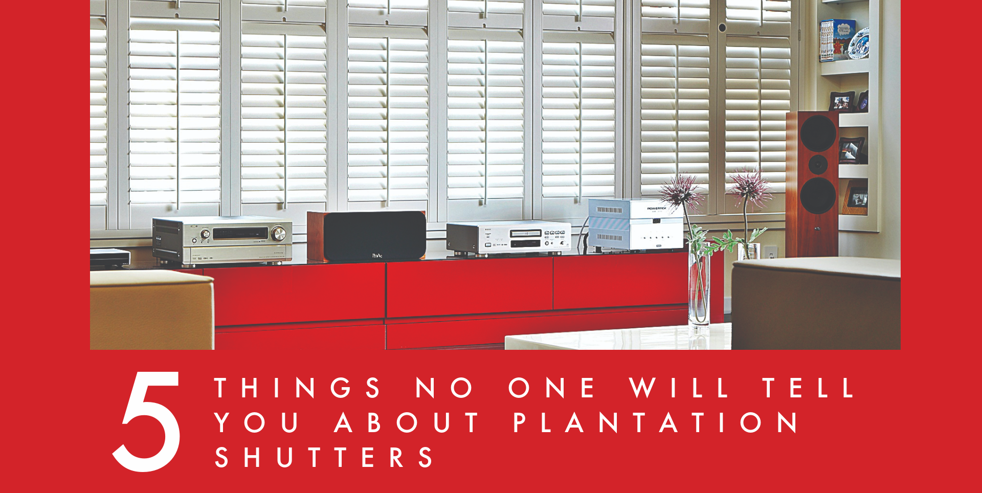 Plantation Shutters in red interior design listicle promo
