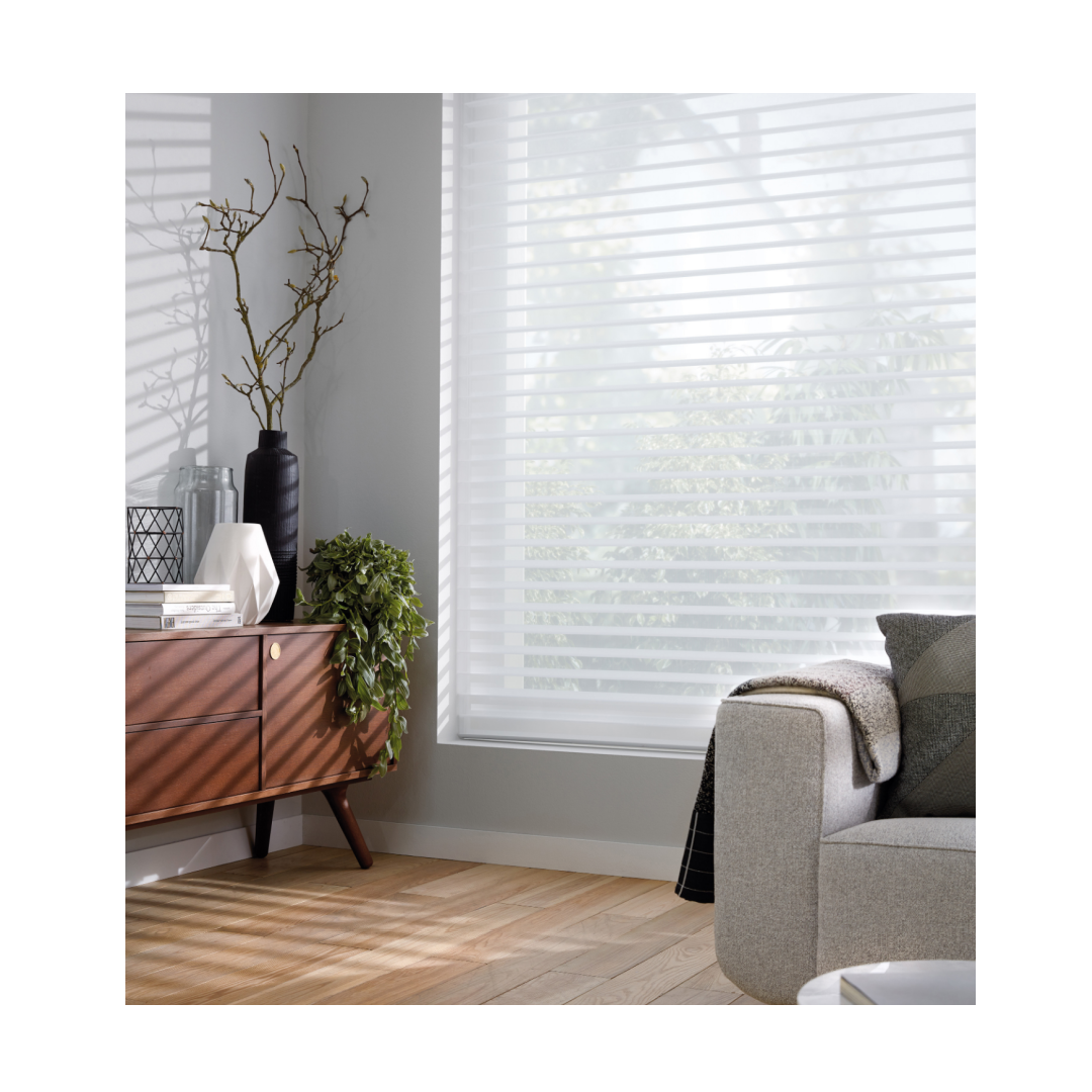 Silhouette blinds with translucent material in neutral living room setting