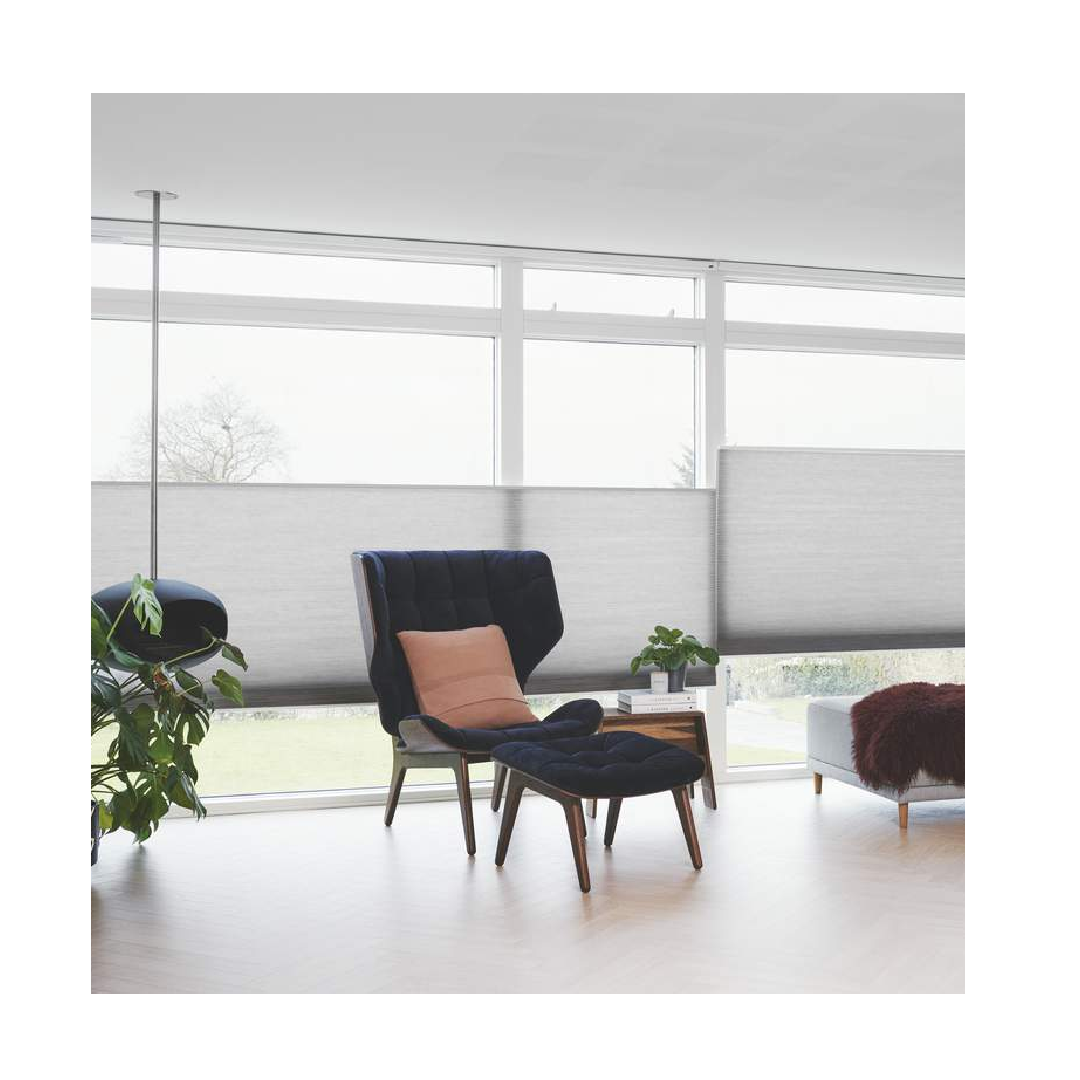 Silhouette blinds with top down bottom up mechanism in grey modern living room