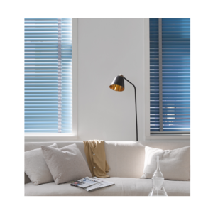Metal venetian blinds in contemporary living room with blue hue