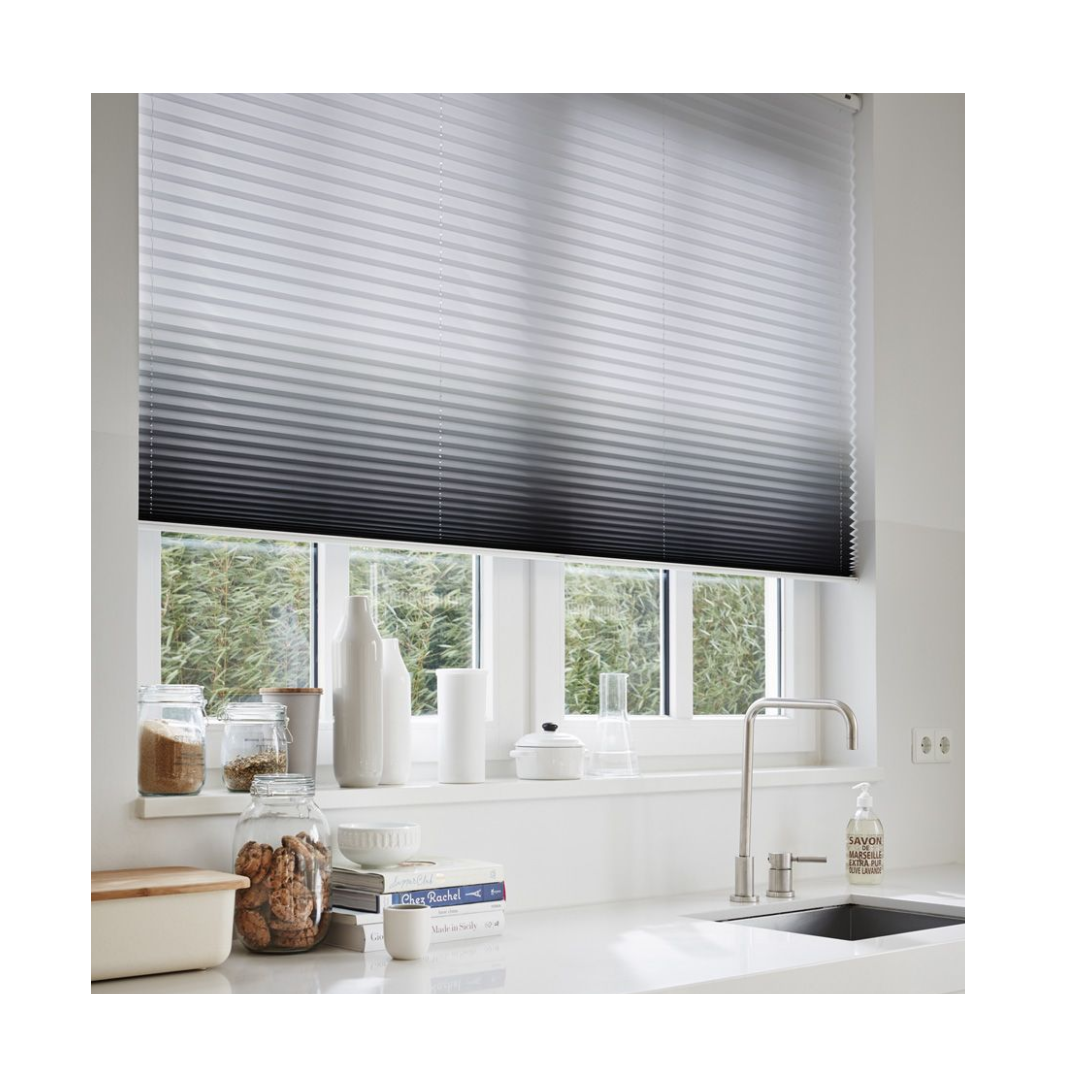 Ombre duette blind with grey gradient