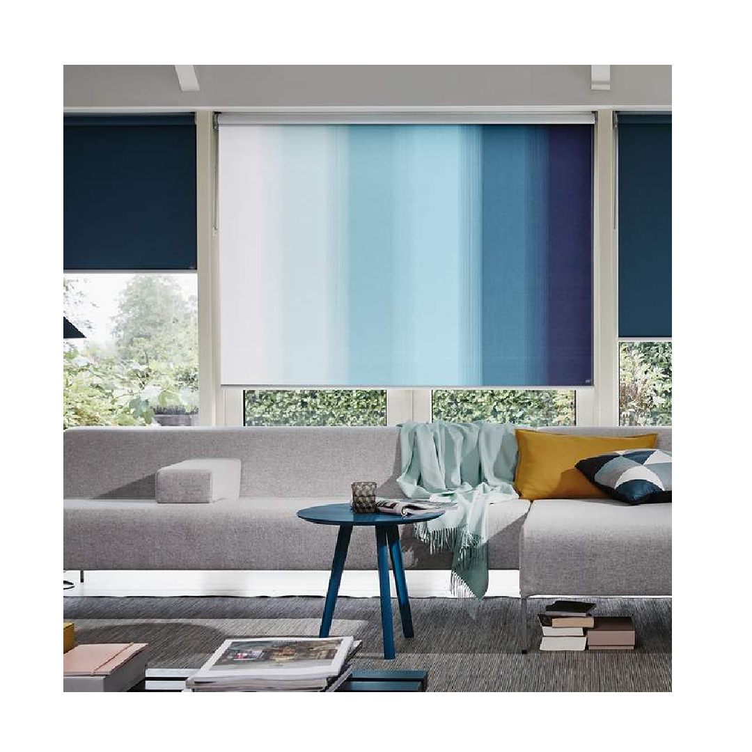 Ombre roller blinds with nautical theme blue in contemporary living room window