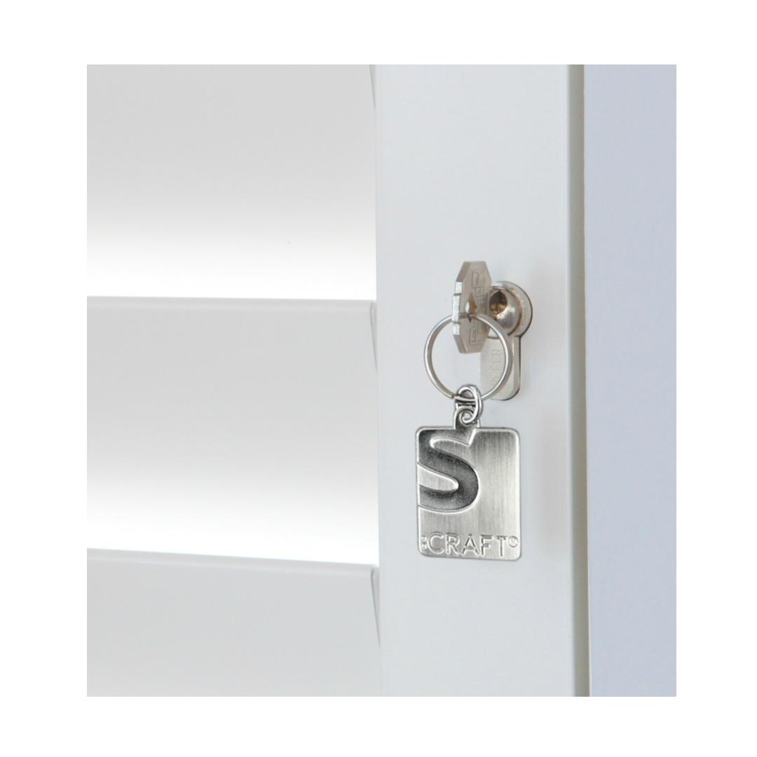 Security shutters key and lock closeup