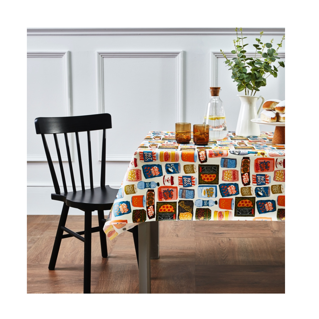 colourful tablecloth featuring farmyard animals prints from Allotment collection