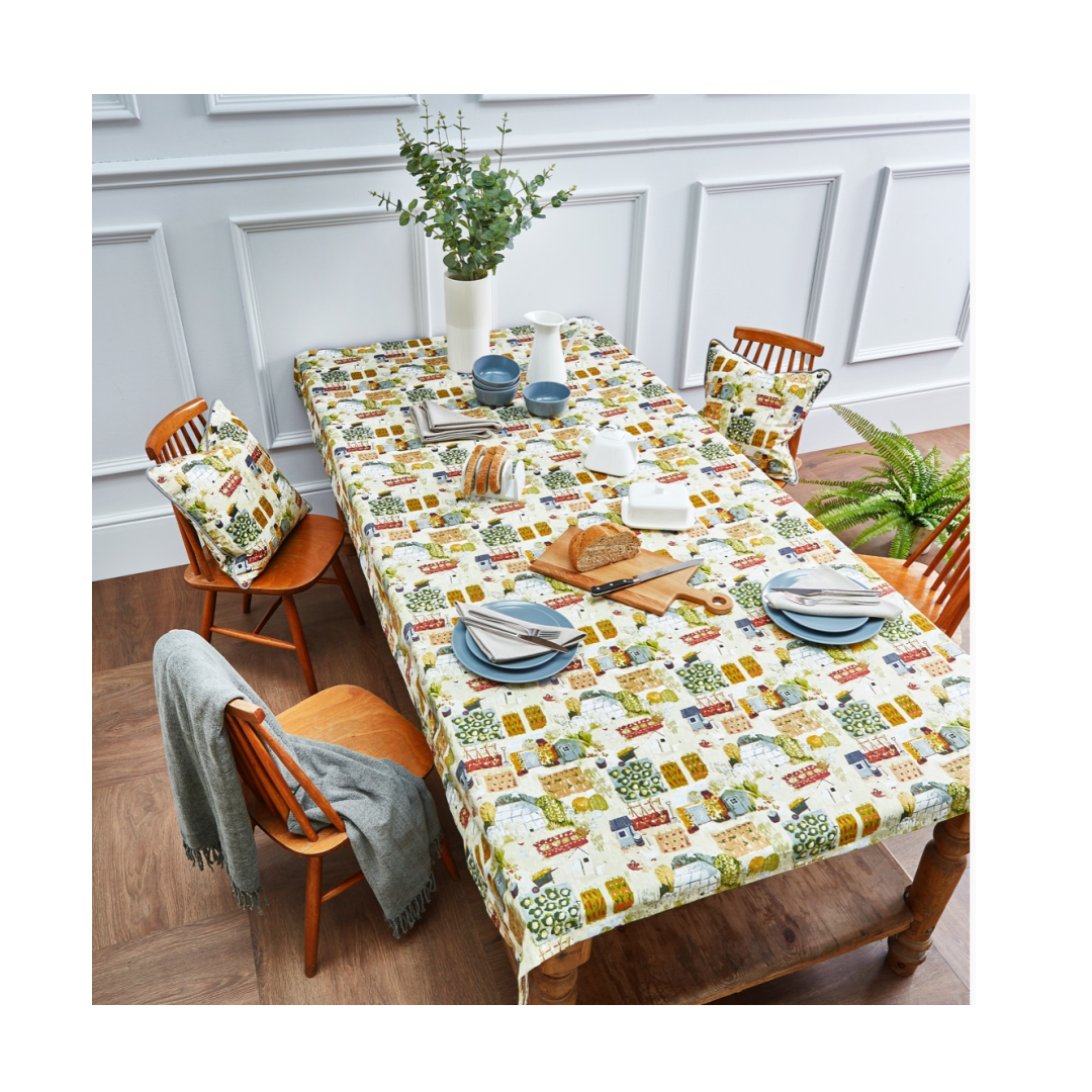 quirky pvc tablecloth with farmhouse prints part of the allotment fabric collection