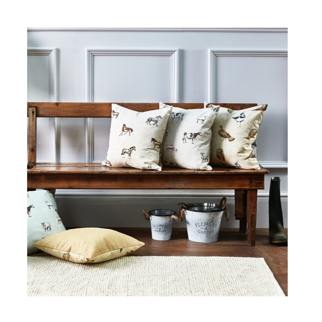 cottagecore allotment collection pillowson wooden bench in modern home.