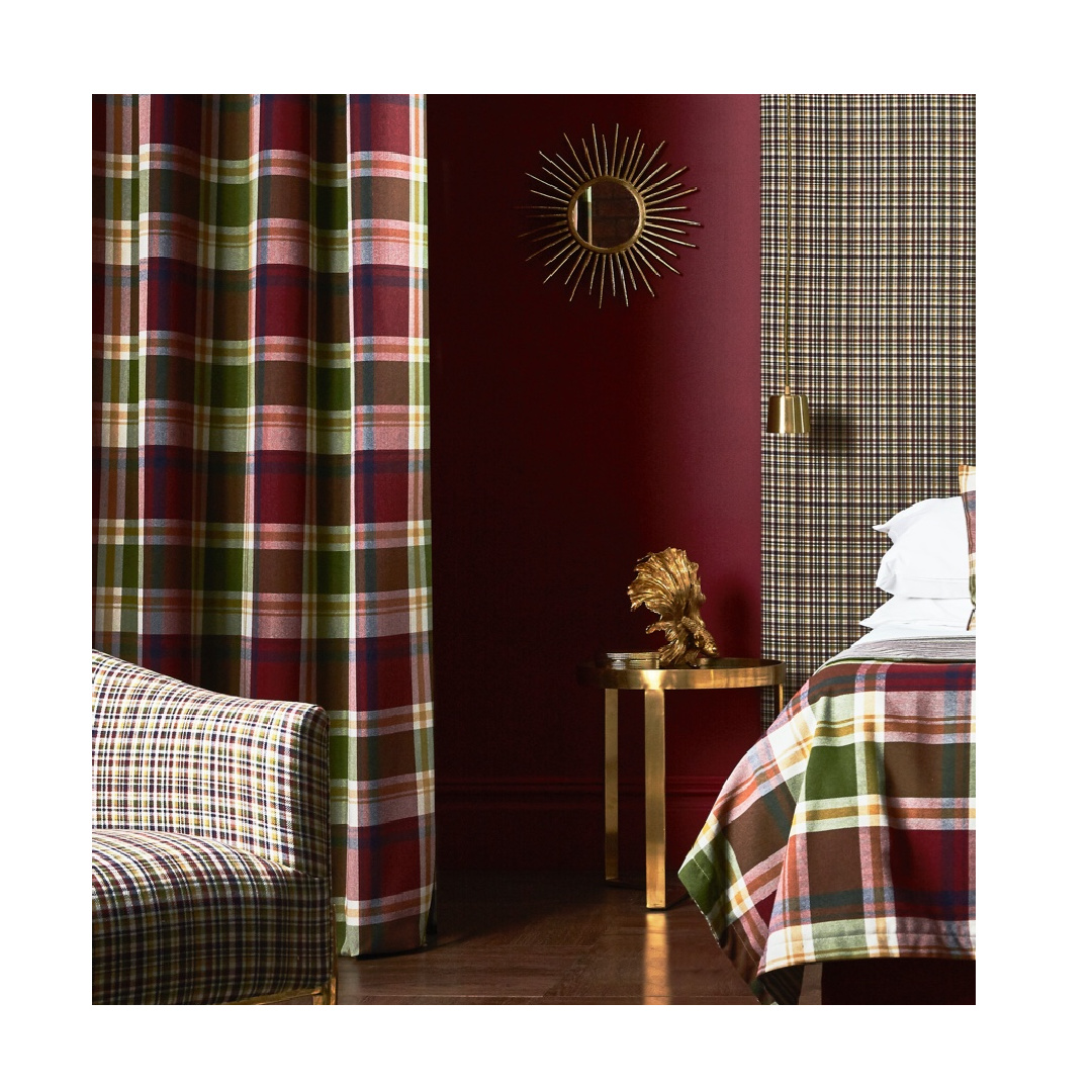 Fabric curtains with crosshatch embroidery in rural bedroom