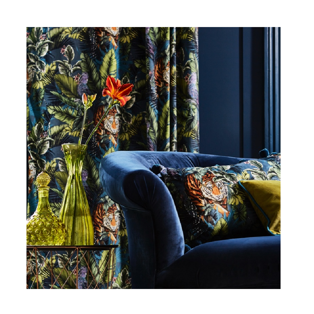 Journey Beyond fabric curtains with tiger tropical jungle prints