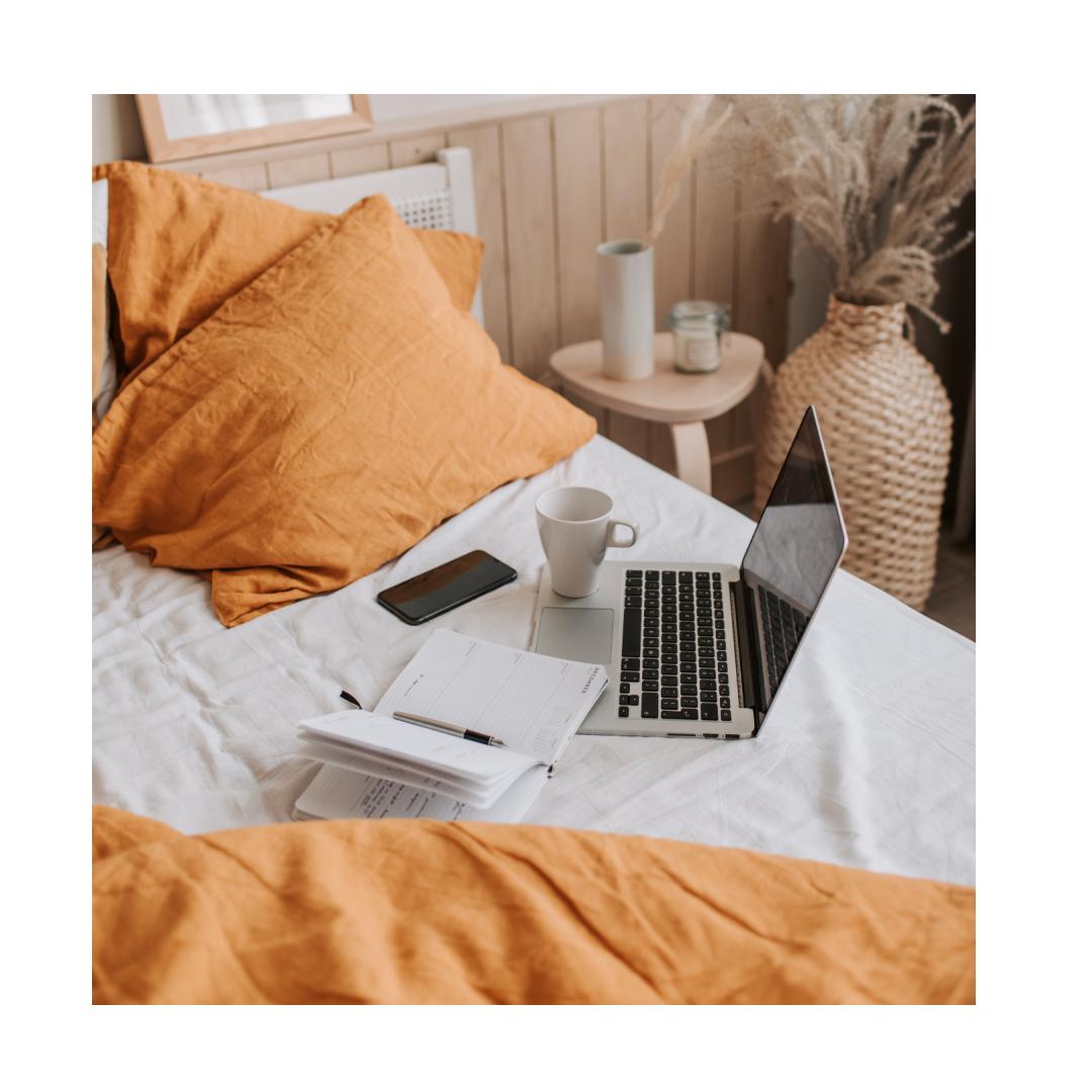 Makeshift home office in bedroom