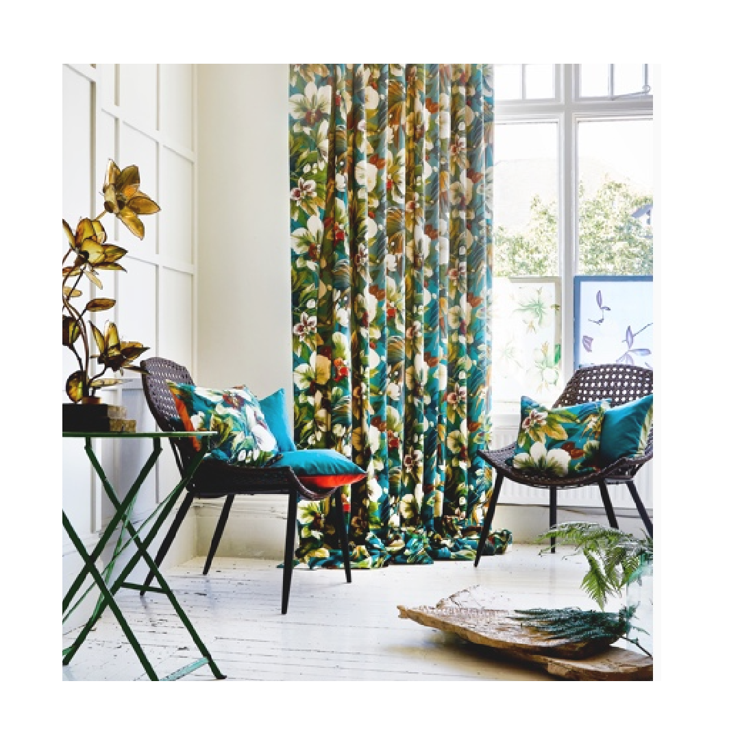 exotic tropical curtain prints from South Pacific fabric collection
