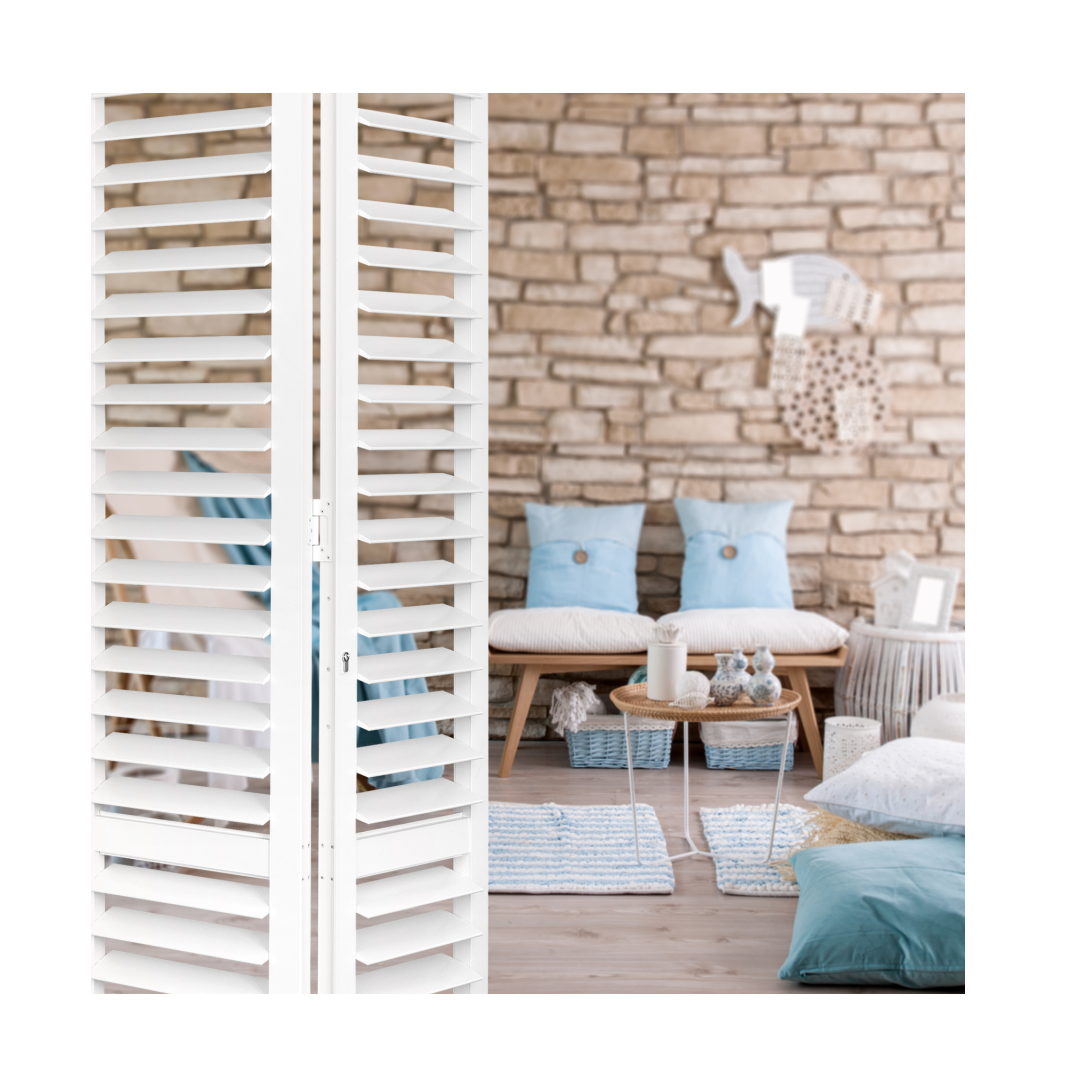 Track shutters in living room