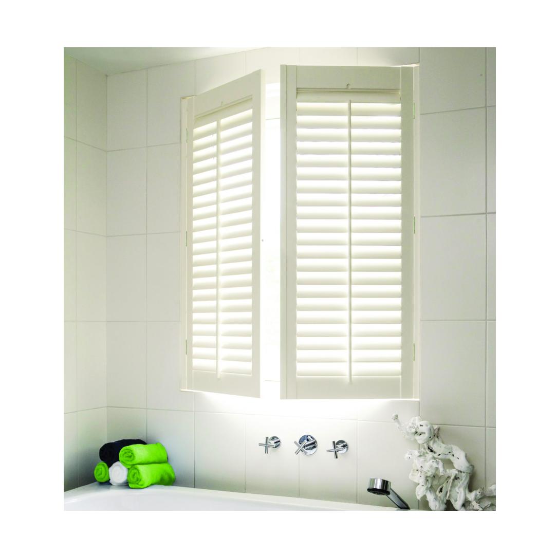 Java plantation shutters in bathroom window