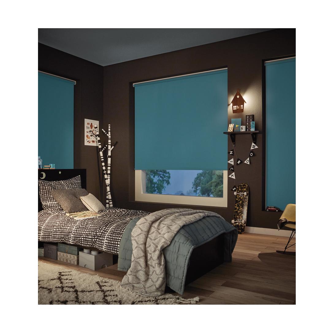 blackout roller blinds in dark bedroom colour shceme