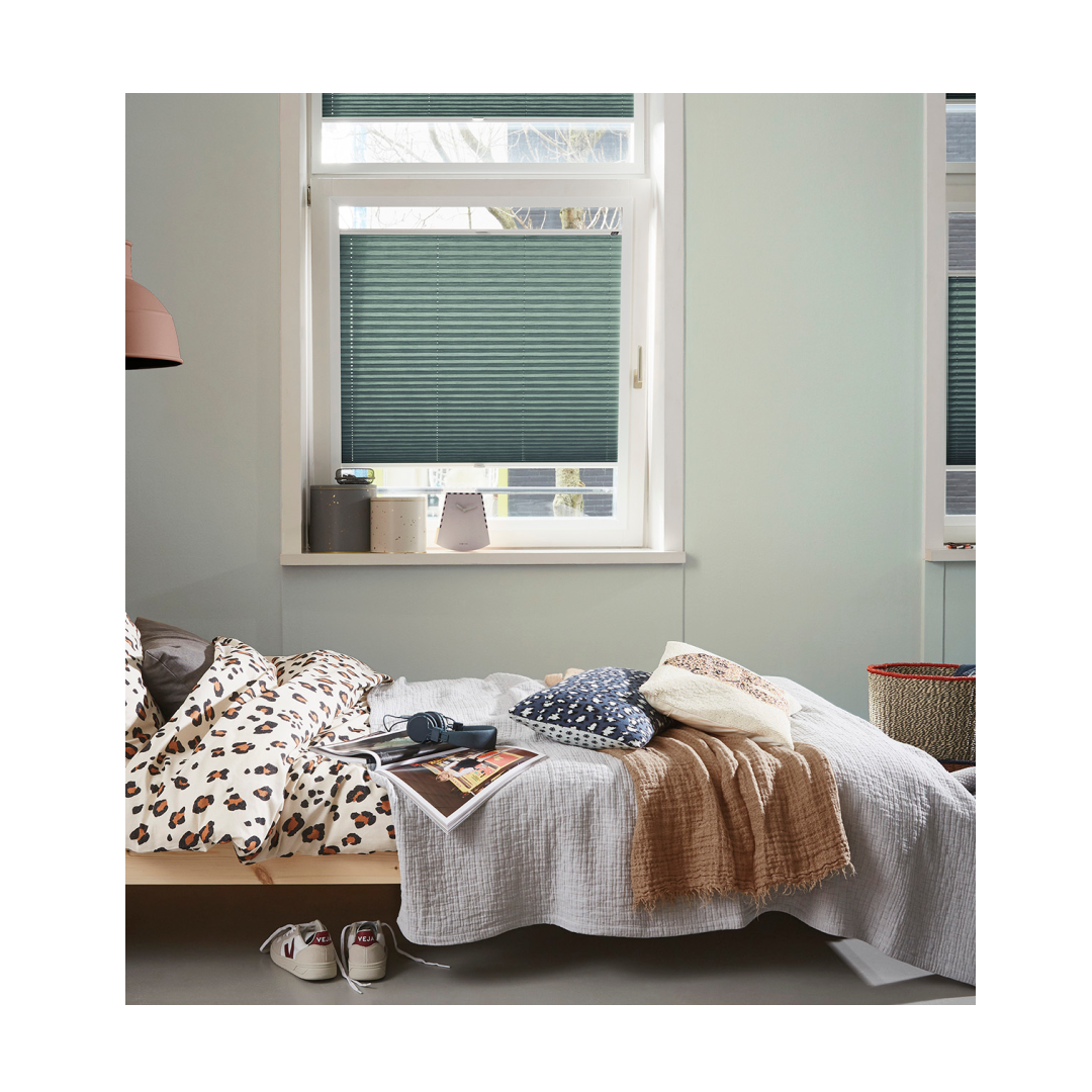 Top down bottom up blinds in busy bedroom setting