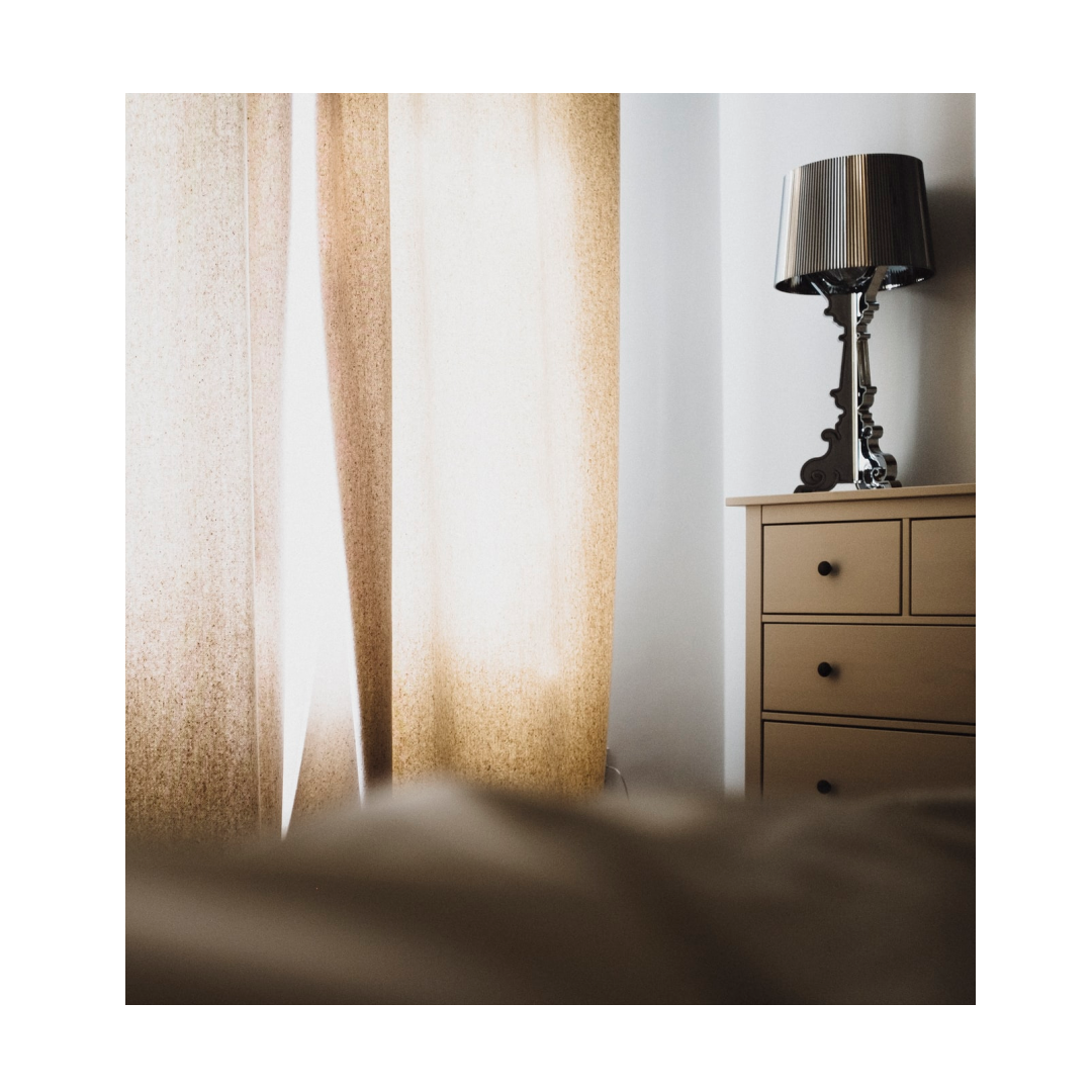 Translucent curtains in bedroom window